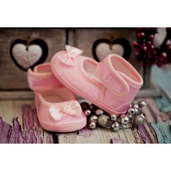 Baby Girls Christening/Occasion Ballerina Shoes with Satin Bow in Pink