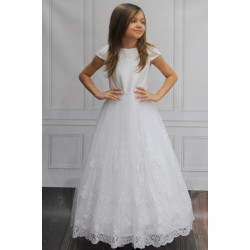 Handmade Classic Tulle&Lace Communion Dress with Embroidery ANDREA