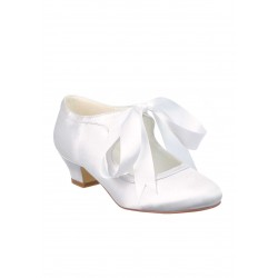White Satin First Holy Communion Shoes Style 5283