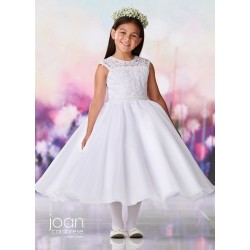 Joan Calabrese White Tea-Length First Holy Communion Dress Style 119373