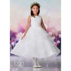Joan Calabrese White Tea-Length First Holy Communion Dress Style 119374