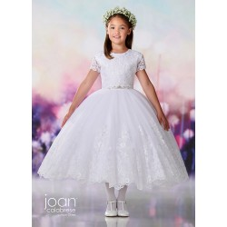 Joan Calabrese White Tea-Length First Holy Communion Dress Style 119386