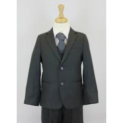 Boys Shinny Dark Grey 5 Piece Communion Suit Style 509