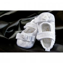 Girls White Lace Christening Shoes with Bow Style 4907/241