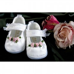 Girls Christening / Wedding Shoes in White with Rosebud Trim Style 3580/237