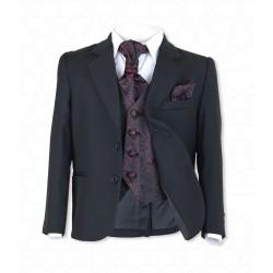 Boys Black 5Pc Communion/Page Boy Suit with Burgundy Hankerchief, Cravat & Waistcoat Style 514