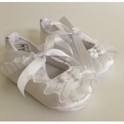 Baby Girls White Christening Shoes Style 509