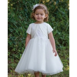 Ivory Princess Flower Girl Bolero Dress with Tulle&Lace by Sarah Louise Style 070025