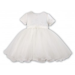 Amazing Ivory Satin Christening/Special Occasion Dress by Sarah Louise style 070023-1