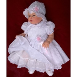 Baby Girls Christening White Dress with Bonnet Style Sophie