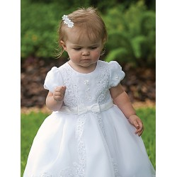 Sarah Louise Ivory Bead and Flower Christening/Special Occasion Dress Style 070012B