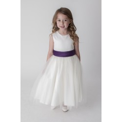 Lovely Ivory Flower Girls /Special Occasion Dress with Purple Sash style V353